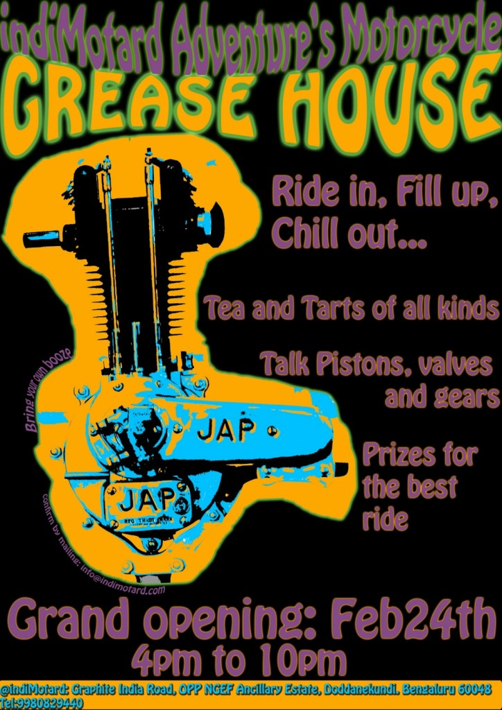 garage 724x1024 Grease House custom motorcycles garage begins its journey with a bang on Feb24th in Bangalore