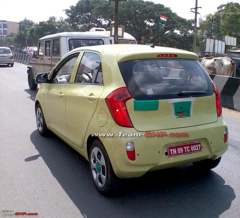 kiarear 1024x929 SPIED: Kia Picanto caught testing in India