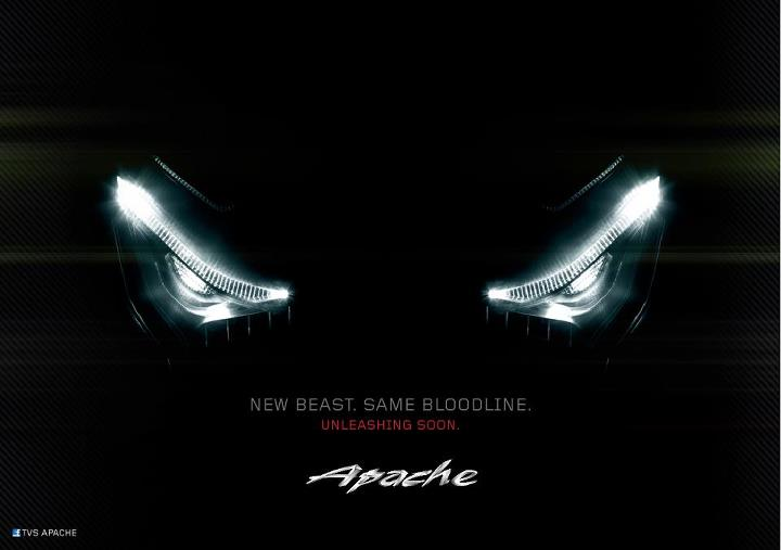 TVS teases the face of its all new, 2013 Apache!