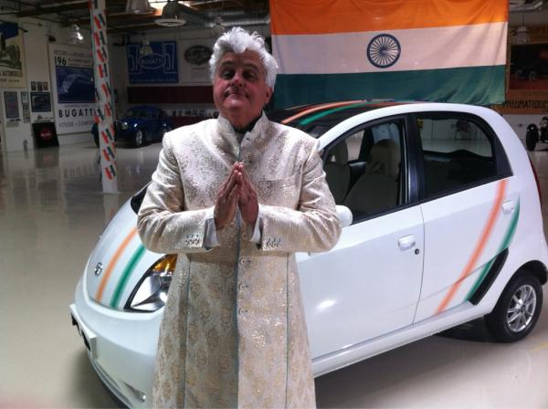 Jay Leno Tata Nano Popular talk show host Jay Leno gets himself a Tata Nano. Welcomes it in Bollywood style