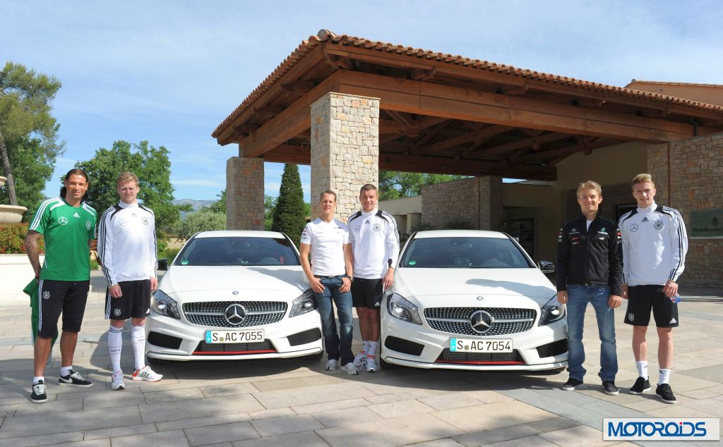 Michael Schumacher, Nico Rosberg drive the new A-Class with the German football team