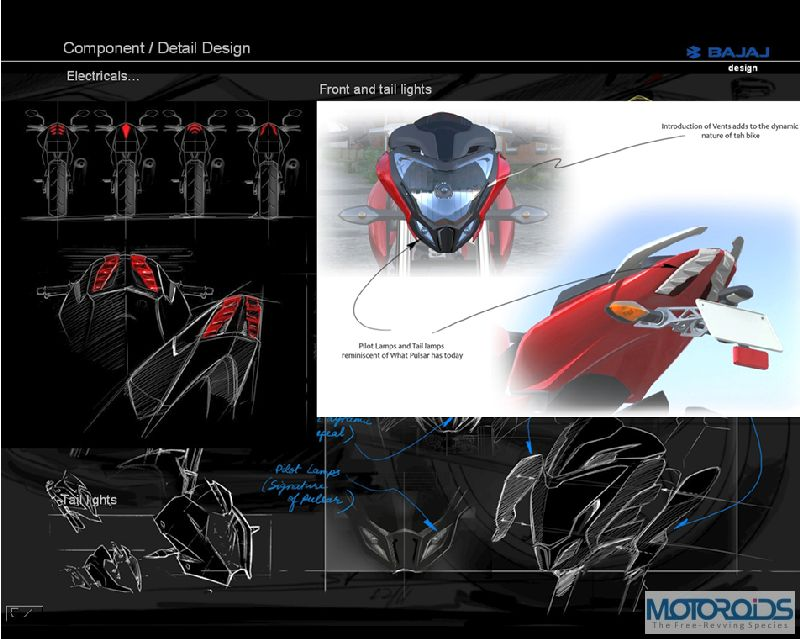 8. Pulsar 200NS Detailing in Design III Exclusive: Pulsar 200NS design sketches, and the story of its evolution