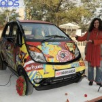 Tata Nano painted in pop coloured mosaics
