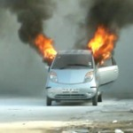 VDO: Yet another Tata Nano catches fire on the streets of Chennai!