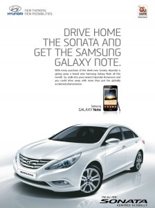 Samsung Galaxy Note Free with Hyundai Sonata Fluidic