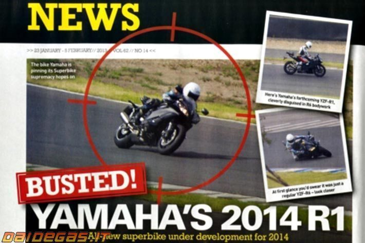 The 2014 Yamaha YZF-R1 caught spy testing.