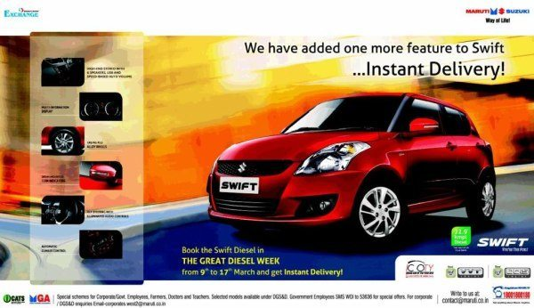 Maruti Suzuki offering Instant Delivery of Swift diesel variants
