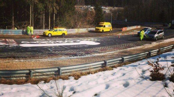 Giant graffiti Pen*s surfaces on The Nürburgring