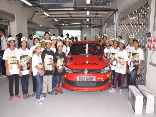 Children from the smile foundation visit the Buddh International Circuit to witness the pre-season testing of the Polo R Cup