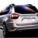 Nissan Terrano rear styling revealed through an official sketch