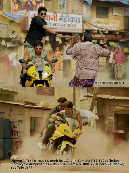 Dhoom 3 Theatrical Trailer released. YZF R15 becomes a BMW S1000RR! - Motoroids.com