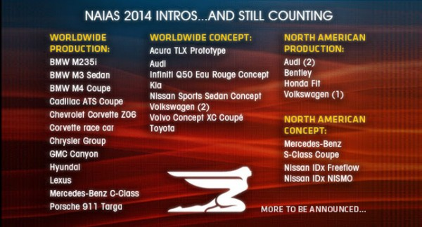 List of Premieres at North American International Auto Show 2014
