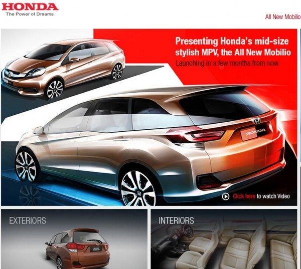 Honda Mobilio India Launch soon; Images & Details