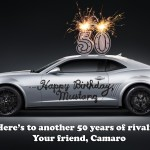 Chevrolet Camaro wishes Ford Mustang a Happy 50th!
