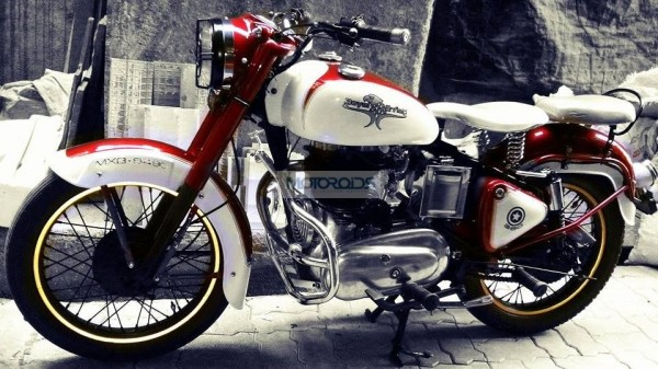 A lightly modified Royal Enfield Bullet motorcycle