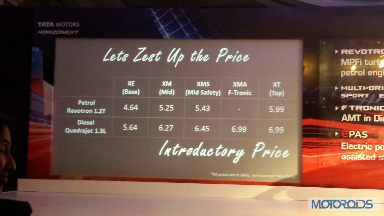 Tata Zest Automatic Price Tata-zest-launched-price